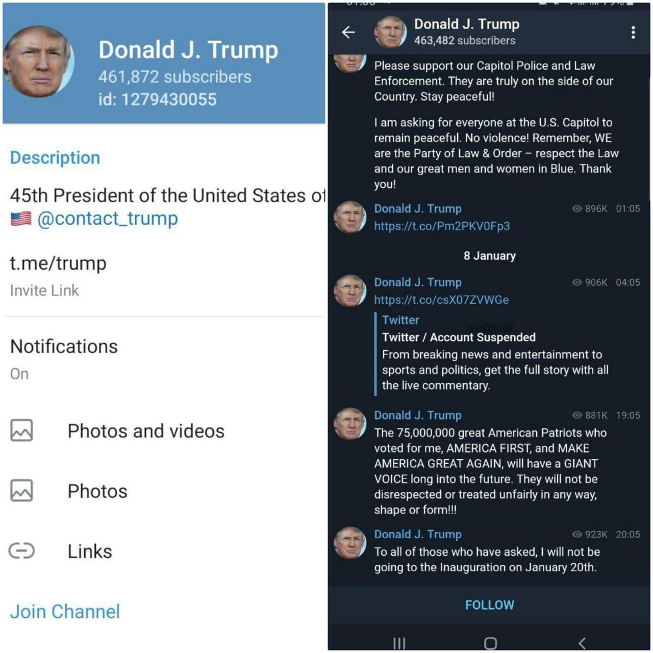 ترامپ به تلگرام پناه آورد! + عکس