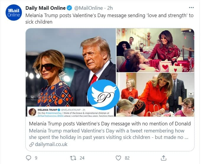 پیام ولنتاین ملانیا ترامپ جنجالی شد / ابراز عشق ملانیا به شخصی دیگر + توئیت