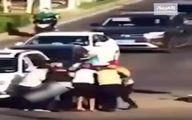 غش کردن پلیس راهنمایی وسط چهارراه بر اثر گرما