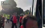 تصاویر حمله به اتوبوس پرسپولیس در اصفهان